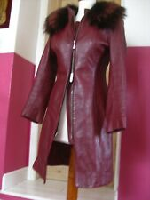 Vintage Ladies red leather retro 60s COAT long line JACKET 8 6 faux fur collar