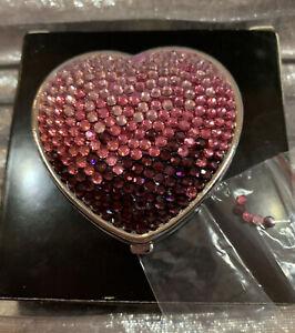 Beautiful Sassy Heart Shaped Travel Compact Mirror W Pink & Purple Rhinestones