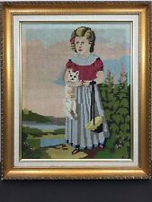Vintage Large Hand Made Needlepoint Girl W Dog Or Cat Framed Picture