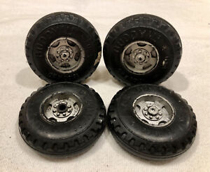 (4) 1960's Buddy L Truck Plastic Wheels 10.00 x 20 w/ Axles Original Tires
