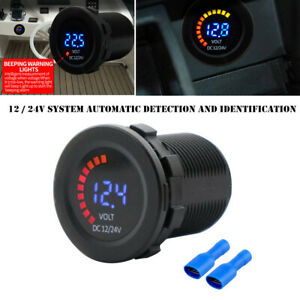 Car Motorcycle RV 12-24V Dual LED Digital Voltmeter Ammeter Amp Meter Guage Part