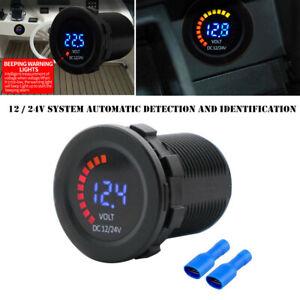 Car Motorcycle RV 12-24V Dual LED Digital Voltmeter Ammeter Amp Meter Guage Part