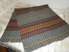 """Vintage Woven Weaved Fabric Table Runner Blue Tan Red Wool 53"""" x 22.5"""""""