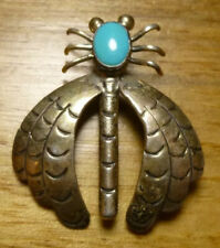 Vintage Sterling Silver Turquoise Dragonfly Pin Brooch