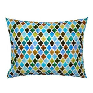 Moroccan Arabesque Quatrefoil Watercolor Abstract Pillow Sham by Roostery