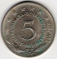 1971 YUGOSLAVIA 5 DINARA NICE WORLD COIN