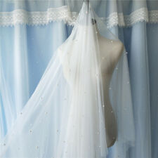 Pearly Beaded Tulle Lace Fabric Bridal Lace Fabric for Veil Wedding Tulle Lace