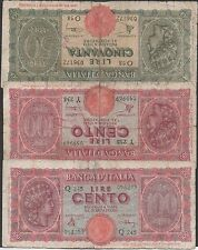 Italy , 50 & 100 (2)  Lire 10.12.1944 ,  3 Circulated Banknotes