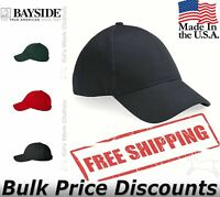 Bayside Mens Baseball USA-Made Structured Cap Hat 3660 six-panel, mid-profile