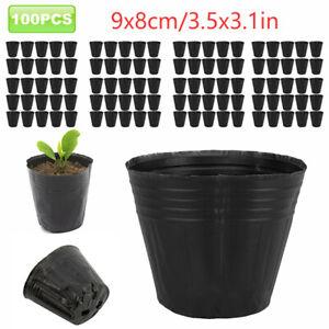 100 PACK NURSERY POTS Outdoor Plastic Pot Flower Plant Tomatoes Vegetable Garden