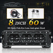 60W 8inch LED Light Bar Spot Bumper Fog Driving Trailer Jeep ATV Offroad &Wiring