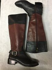 Vince Camuto Womens Black Brown Leather Riding Dress Knee Boots Size Sz 7.5 M