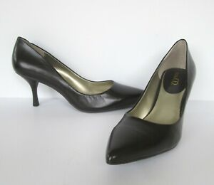 Nine & Co Womens Dark Brown Leather Pointed Pointy Toe Heels Pumps Shoes 8 M
