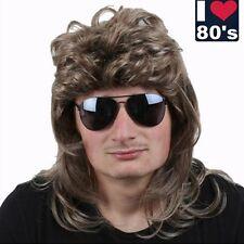 80er Perücke Vokuhila Herren Haarteil dunkelblond Fasching Karneval Verkleidung