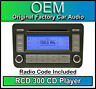 VW RCD 300 CD player Caddy car radio headunit, Supplied with stereo code