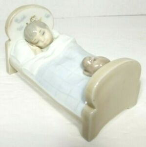 Zaphir Lladro Cozy Companions Boy with Cat in Bed Figurine Spain