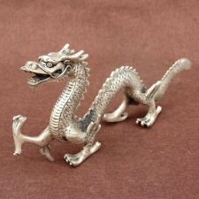 Old China handmade antique Tibetan silver station dragon Figurines Statues