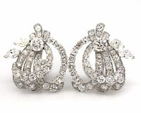 Vintage Diamond Swirl Cluster Earrings with 10 ct TW in 18k White Gold--HM1983VA