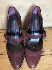 PIED A TERRE HEELS SHOES High LEATHER court Size 5 38 Work PURPLE burgundy Worn