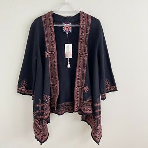 Johnny Was Black Eyal Knit Draped Embroidered Kimono Cardigan Size Small