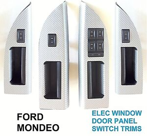 FORD MONDEO MK 3 DOOR WINDOW SWITCH PANEL COVERS - SILVER CARBON FIBRE EFFECT