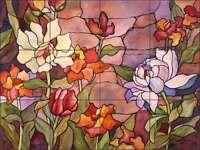 Floral Tile Backsplash McEachron Flower Art Ceramic Kitchen Mural RW-AM011