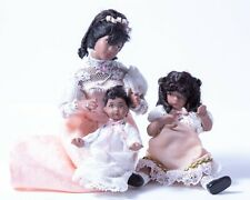 Dollhouse Miniatures Ethnic Victorian Female Family Set of 3 ~ Mom, Baby & Girl