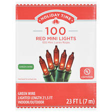 New ! Holiday Time 100 Count Red Mini Lights Green Wire 23 FT Long