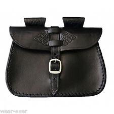 MITTELALTER Gürteltasche keltisches Muster Echt Leder schwarz Tasche LARP - 3017
