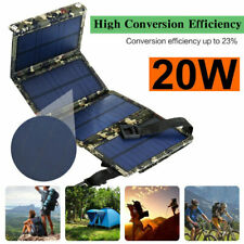 20W USB Solar Panel Foldable Power Bank Outdoor Camping Hike Battery Charger US