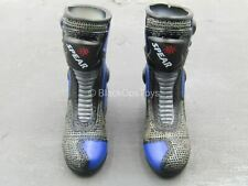 1/6 Scale Toy Biker Girl - Azami - Black & Blue Motorcycle Boots (Foot Type)