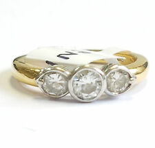 18k Yellow Gold Round Diamond Bazel set 3 Stone Ring,