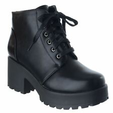 WOMENS LADIES CHUNKY BLOCK HEEL LACE UP BIKER COMBAT PLATFORM ANKLE BOOTS SHOES
