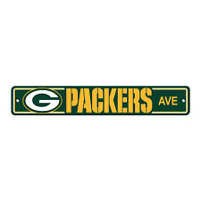 "New Green Bay Packers AVE Street Sign 24"" x 4"" Styrene Plastic Made in USA"