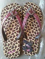 New Sz8 BLAZIN ROXX Brown & Pink Cheetah-Print Leather FLIP-FLOP, Western Style!