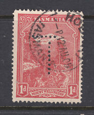 """New listing Tasmania: 1d Pictorial Wmk V Over Crown Inverted Sg 241 Fine Used Perfin """"T"""""""