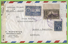 Venezuela 1943 Censored Clipper cover via N.Y & Lisbon to Germany, dual censor