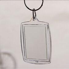 5 X Transparent Blank Insert Photo Picture Frame Keyring Split Ring keychain NEW