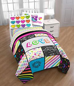 Big Dreams & Hearts Rainbow Full Comforter & Sheet Set (5 Piece Bed In A Bag)