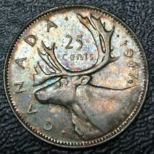 OLD CANADIAN COIN 1947 ML MAPLE LEAF - 25 CENTS - SILVER - George VI - Rainbow