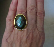 Portofino 18K Gold Embraced 25 x 18mm Faceted Labradorite Ring Size 7