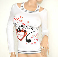 MAGLIETTA BIANCA donna maniche lunghe t-shirt cotone maglia sottogiacca F50