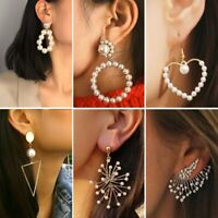 Sweet Women Wedding Crystal Pearl Statement Drop Dangle Stud Earrings Mother