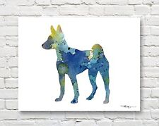 Basenji Abstract Contemporary Watercolor Art 11 x 14 Print by Djr