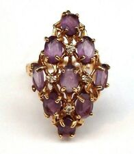 14k Yellow Gold Amethyst Marquise Shaped Cluster Ring