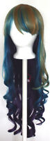 29'' Long Curly w/ Long Bangs Peacock Blend Rainbow Cosplay Wig NEW