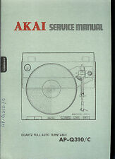 Factory Akai AP Q310 C Turntable Record Player Service Manual Parts List