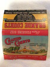 Vintage Matchcover San Antonio TX Grande Courts Motel Roadside Map Back 1950s
