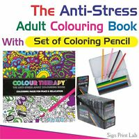 ANTI-STRESS ADULT COLOURING BOOK- COLOUR THERAPY  +  SET OF COLOURING PENCIL