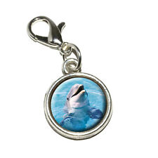Dolphin - Antiqued Bracelet Pendant Zipper Pull Charm with Lobster Clasp